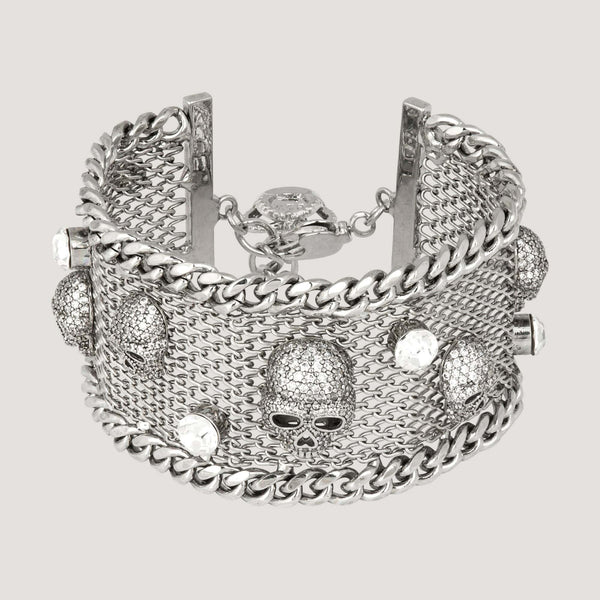 Crystal Skulls on  Net Bracelet