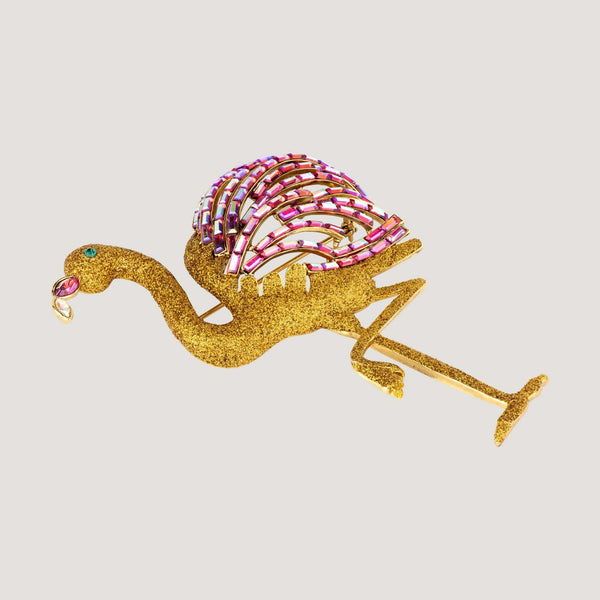 Crystal & Glitter Flamingo Brooch