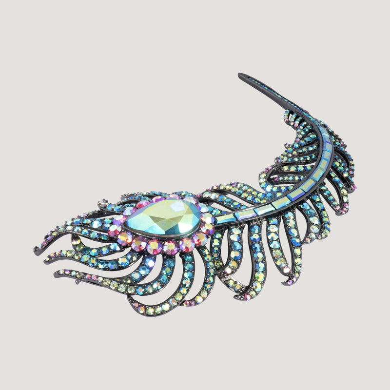 Elaborate Crystal Encrusted Feather Brooch