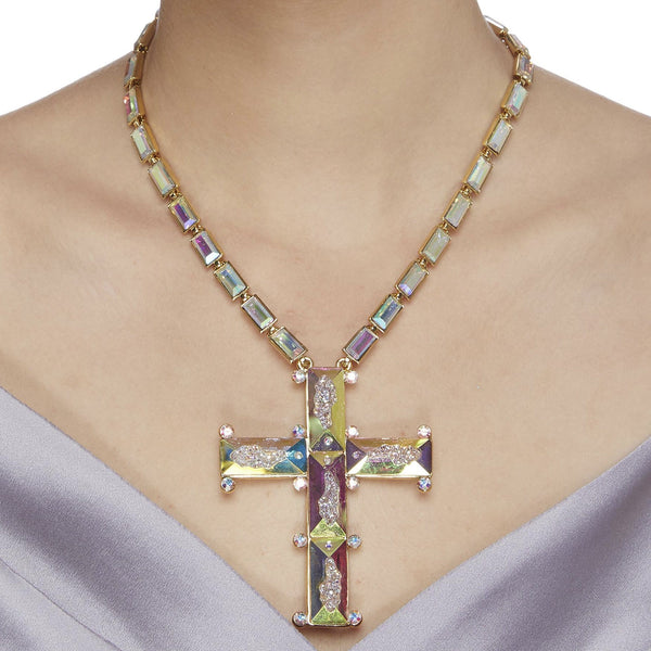 Baguette Stones Cross Necklace