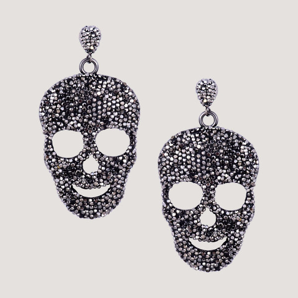 Crystal Flat Skull Drop Earrings