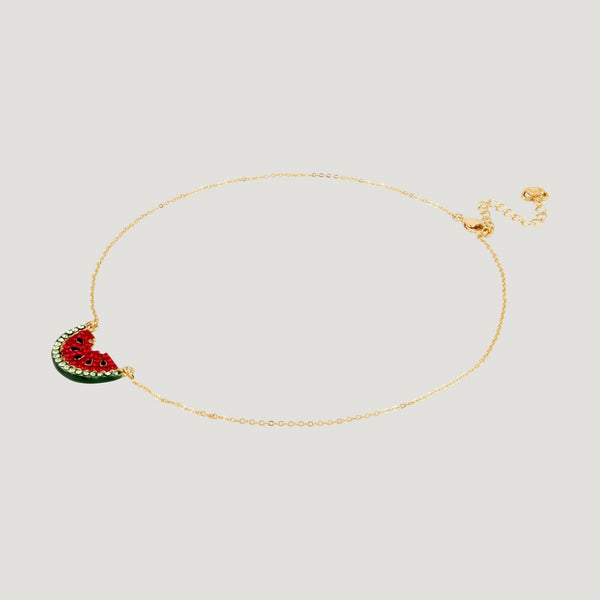 Crystal Watermelon Slice Chain Necklace