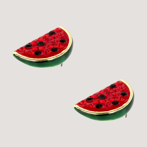 Crystal Watermelon Slice Stud Earrings
