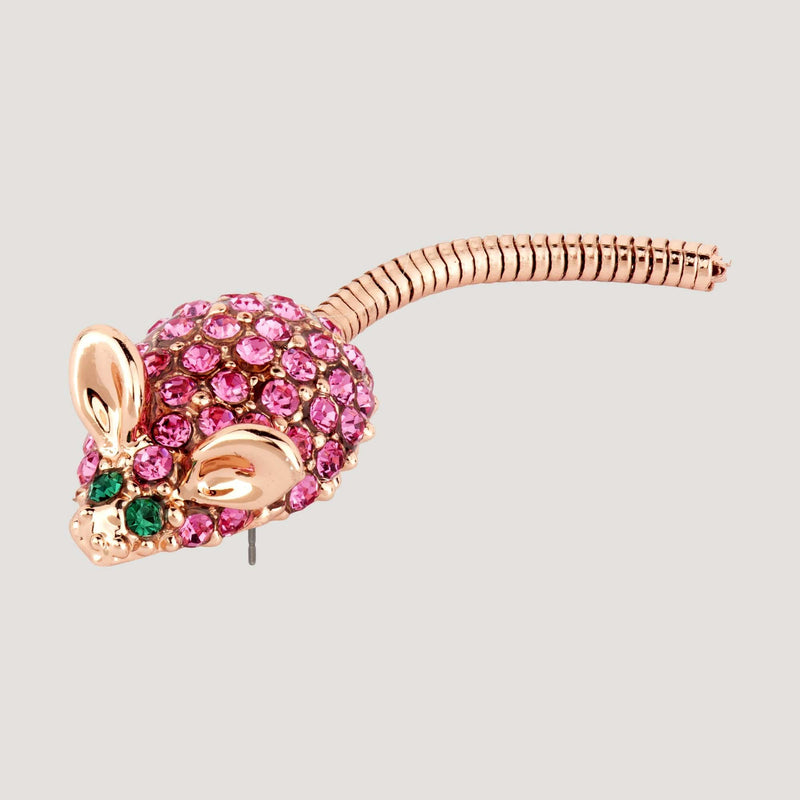 Crystal Mouse Pin Brooch