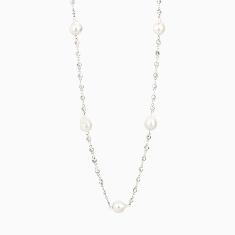 Five Faux Pearls and Crystal Necklace