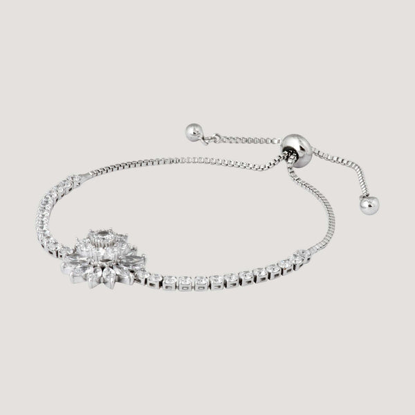 Adjustable Double Layer Crystal Flower Friendship Bracelet