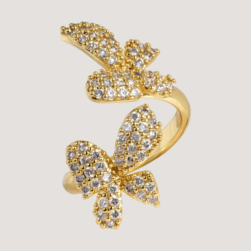 Two Crystal Butterflies Adjustable Ring