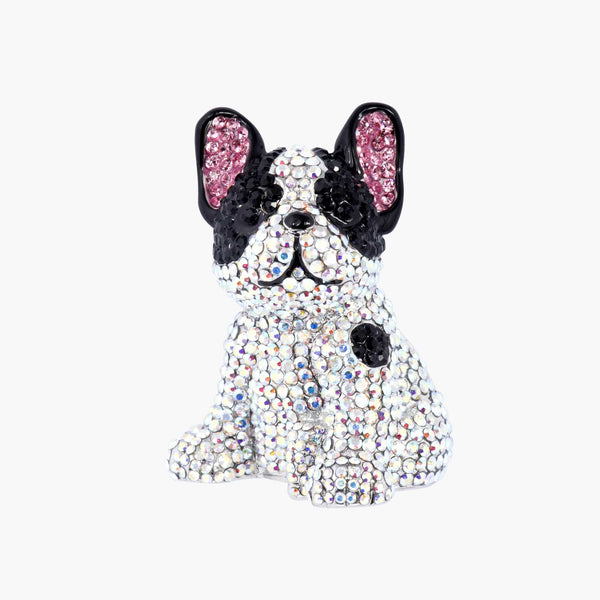 Crystal Encrusted French Bulldog Brooch