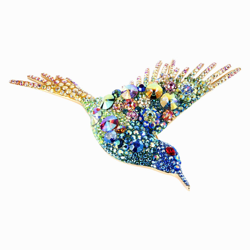 Large Multi Crystal Encrusted Hummingbird Bird Brooch