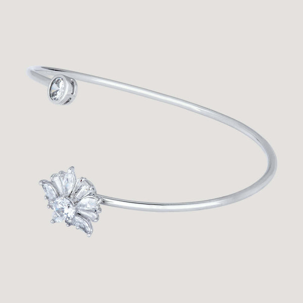 Spinning Crystal Flower on Wire String Bangle