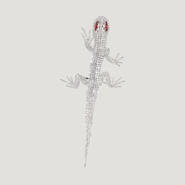 Large Crystal Lizard Brooch