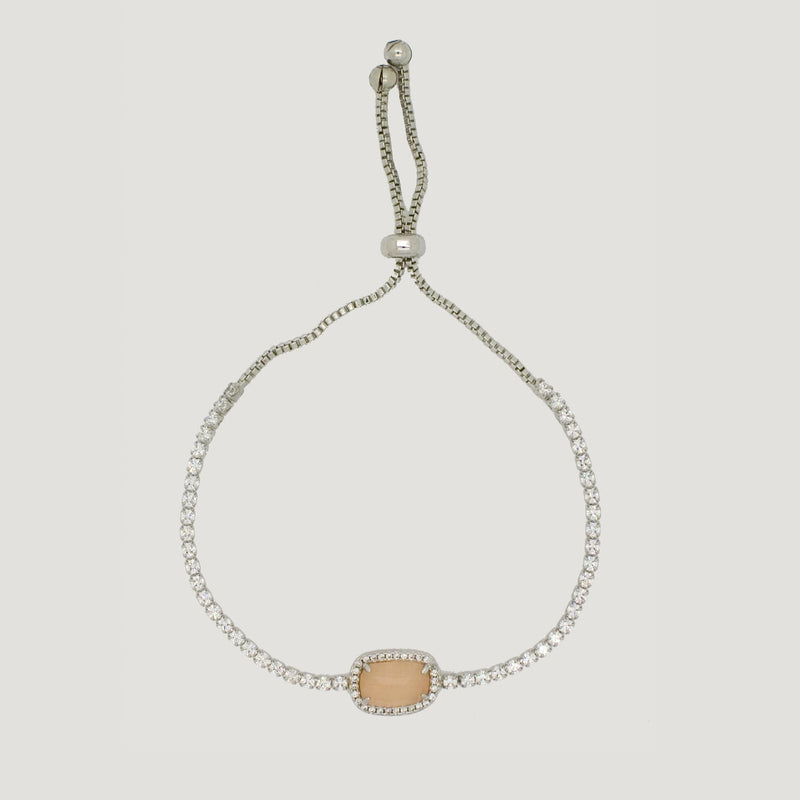 Oval Stone Crystal Chain Adjustable Bracelet