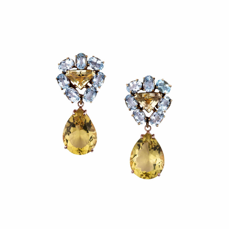 Blue Topaz Triangle and Lemon Quartz Drop Earrings