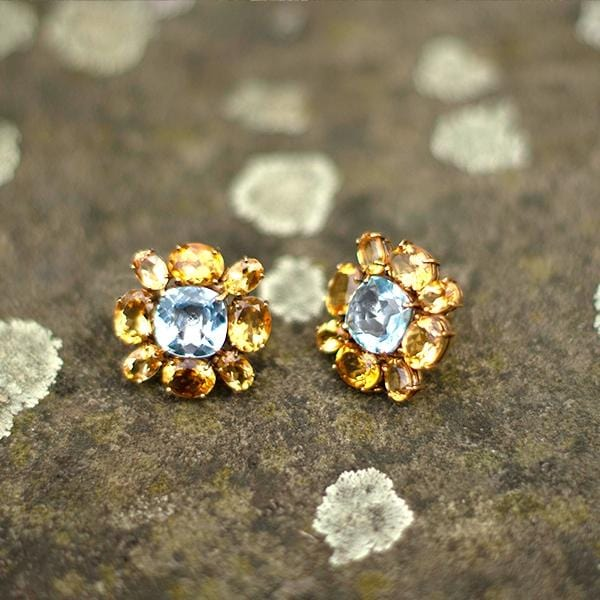 Blue Topaz & Citrine Earrings