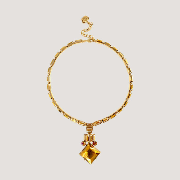 Art Deco Style Drop Square Crystal Necklace