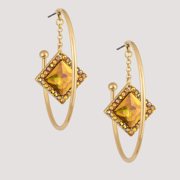 Hoop with Square Crystal Drop Earrings