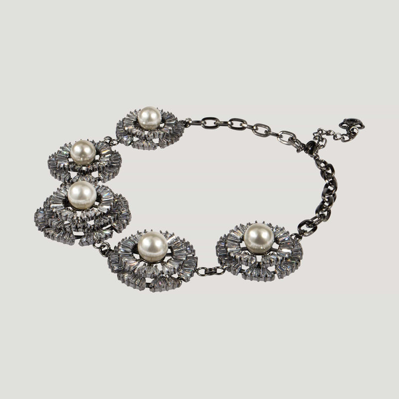 Five Crystal Flowers with Pearl Necklace