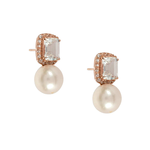 Oval Cut Topaz Drop Pearl Earrings