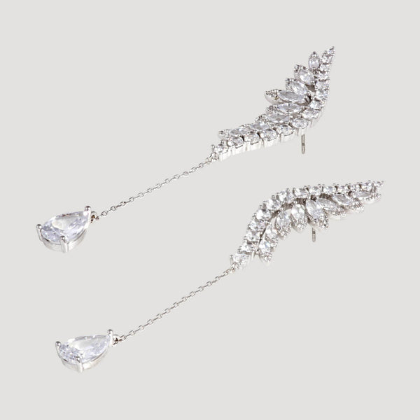 Crystal Wing with Chain Teardrop Earrings