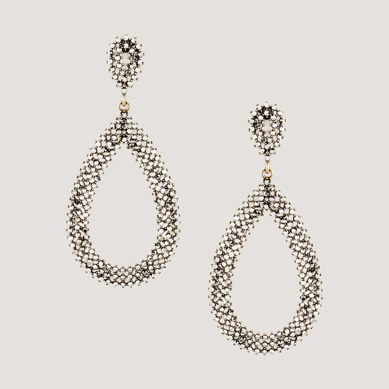 Large Crystal Teardrop Shape Drop Earrings