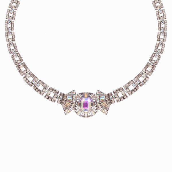 Crystal Art Deco Fan Chained Necklace