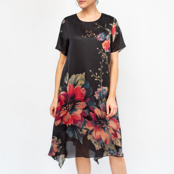 Black Floral Drop Hem Dress