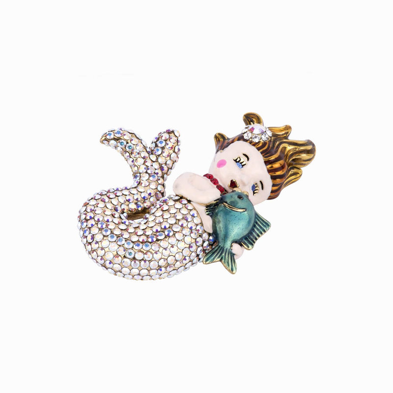 Crystal Mermaid Brooch
