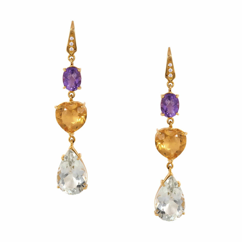 White Topaz, Oval Amethyst, Heart Citrine & Green Amethyst Teadrop Earrings