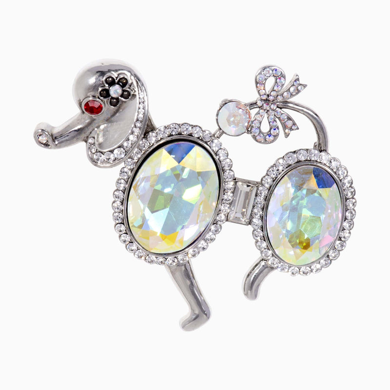 Statement  French Poodle Crystal Brooch