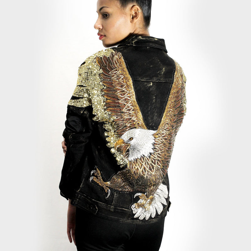 Intricate Sequin Eagle Design Denim Jacket