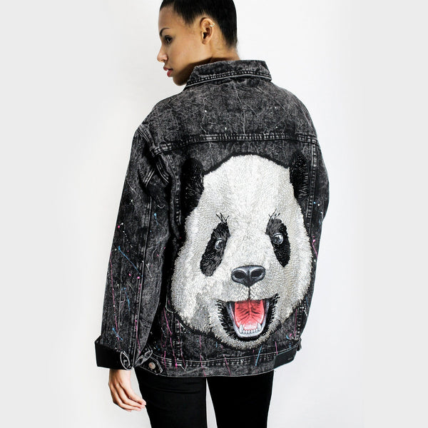 Intricate Sequin Panda Denim Jacket