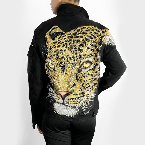 Sequin Leopard Head Denim Jacket