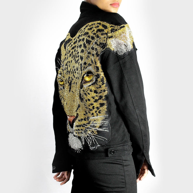 Intricate Sequin Leopard Head Denim Jacket