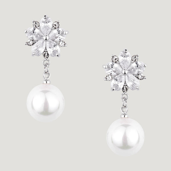 Crystal Flower & Pearl Drop Earrings
