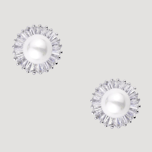 Crystal &  Pearl Stud Earrings