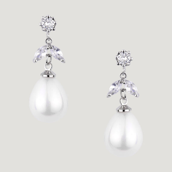 Crystal Leaf & Pearls Drop Earrings