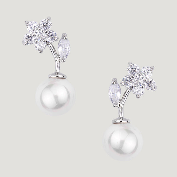 Crystal Flower with Leaf Drop Pearl Earrings