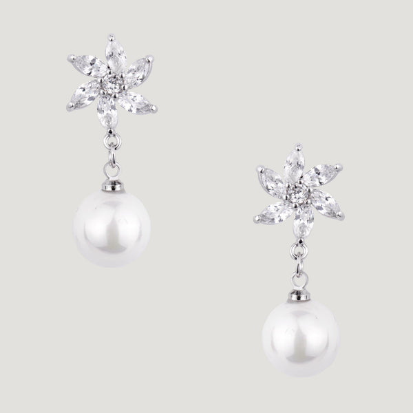Crystal Daisy & Pearl Drop Earrings