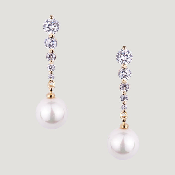 Crystals & Pearl Drop Earrings