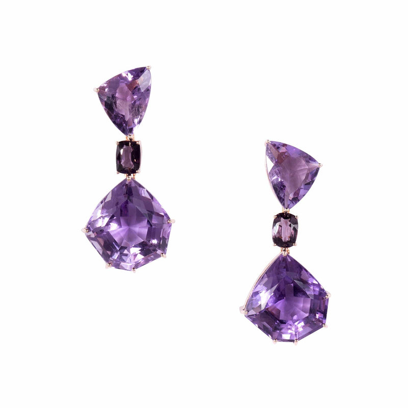 Asymmetrical Amethyst Drop Earrings