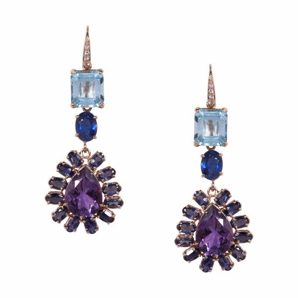 White Topaz, Square Blue Topaz, Oval Blue Sapphire & Amethyst Drop Earrings