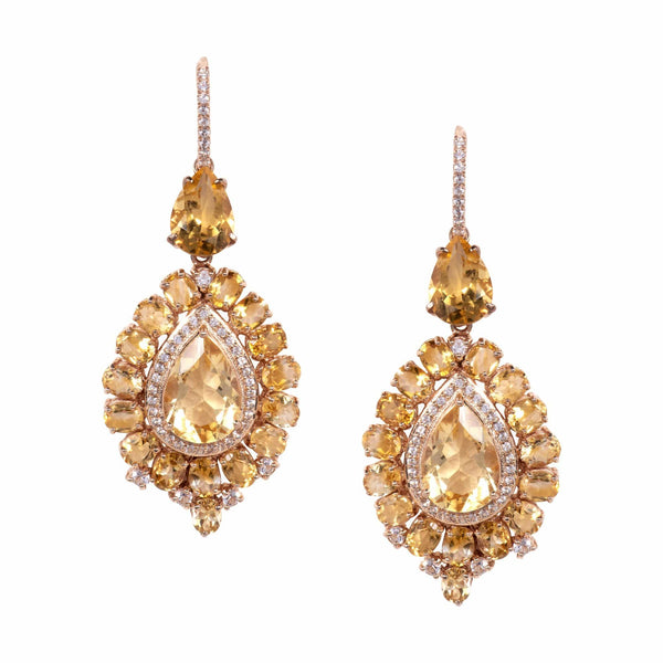 White Topaz and Citrine Drop Earrings