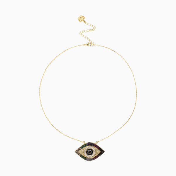 Crystal Eye Delicate Chain Necklace
