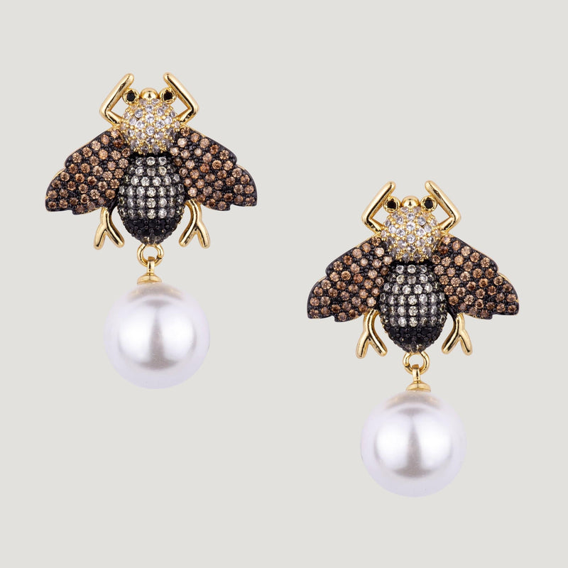 Crystal Bug & Pearl Drop Earrings