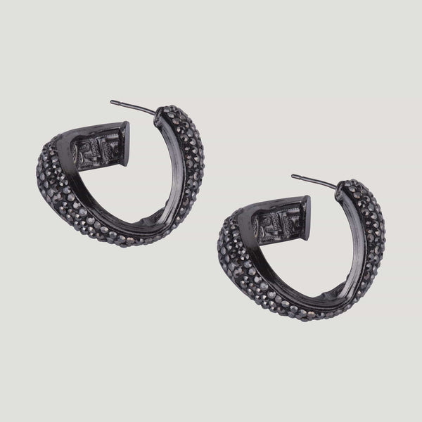 Black Crystal Encrusted Swirl Hoop Earrings