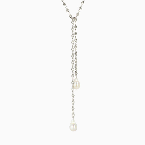 Crystals & Pearls Pendant Adjustable Necklace