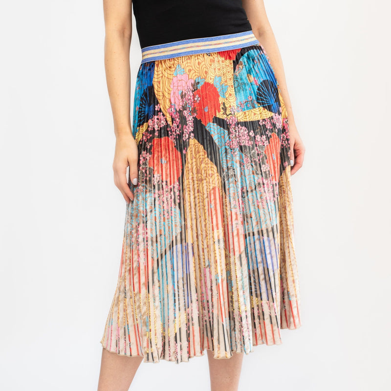 Floral Multi Print Pleated Skirt