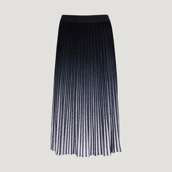 Grey & Blue Striped Pleated Skirt