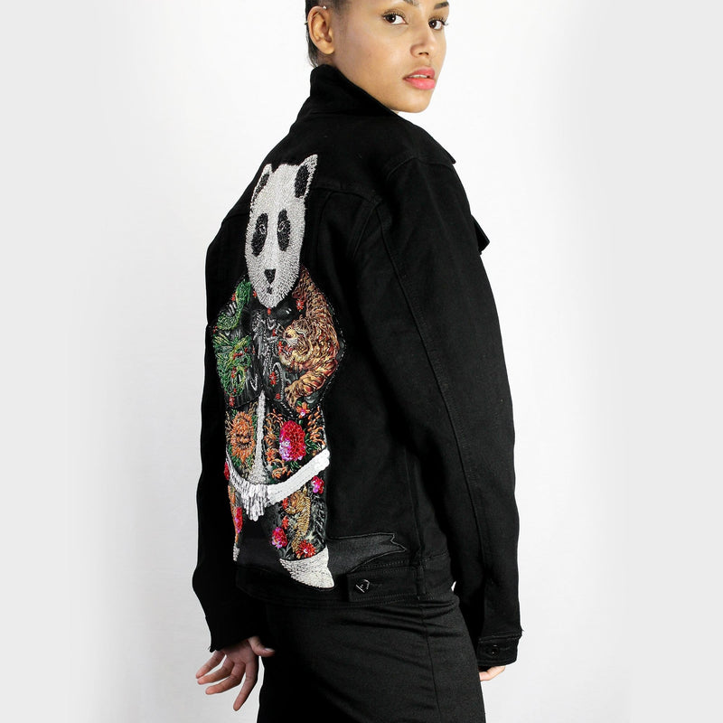 Detailed Sequin Panda Design Denim Jacket