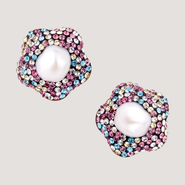 Crystal Flower Shape Stud Earrings